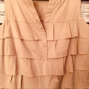 Alfani Ruffled Dress. Khaki. Size 12
